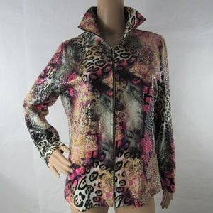 Misook Top Cardigan Sweater Full Zip Long Sleeve